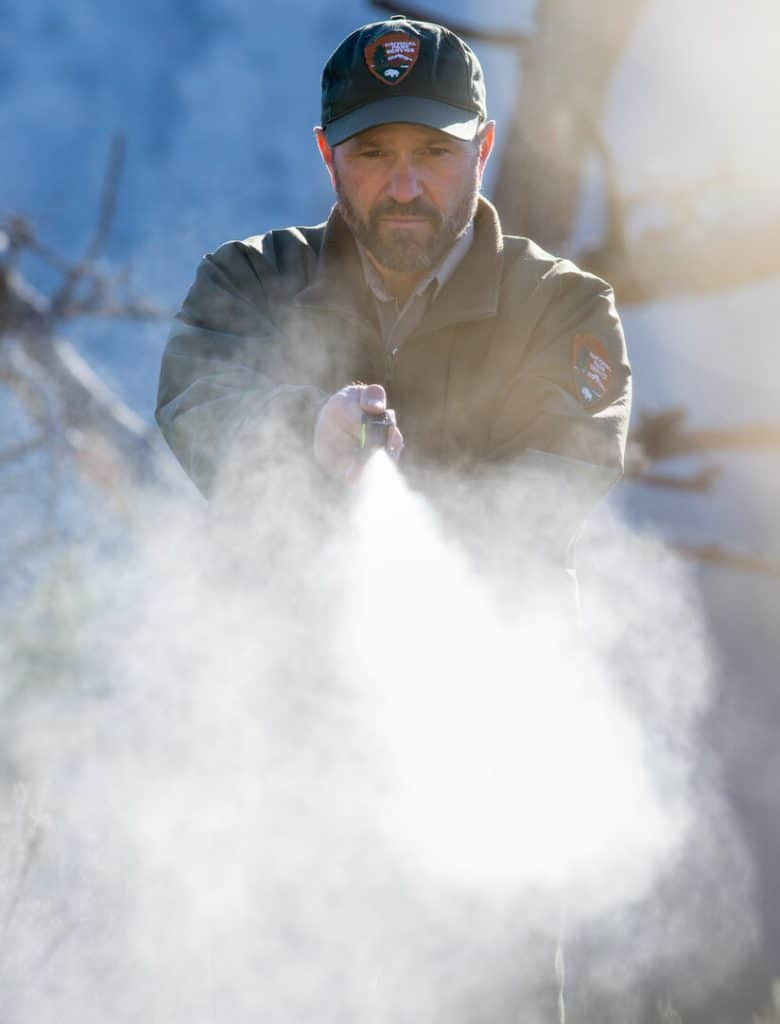 Ranger using bear spray
