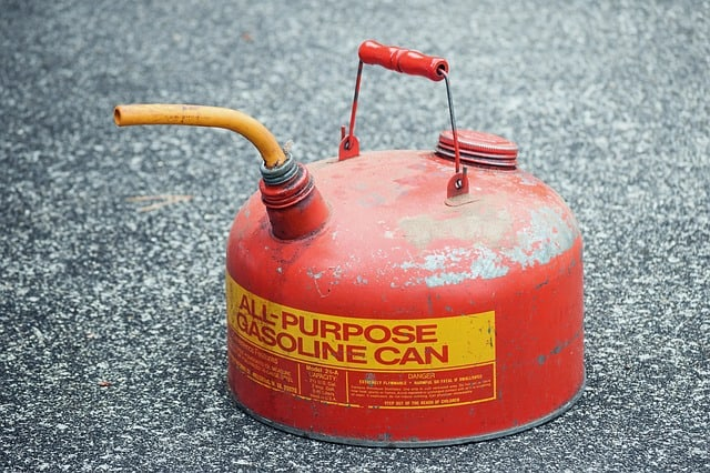 red metal gas can